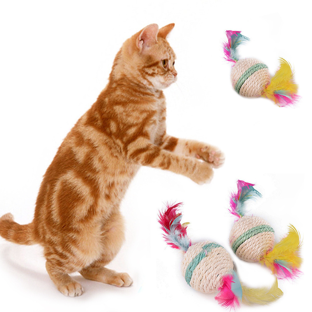 free shipping cat toy feather sisal ball hemp rope pet sound toy cat