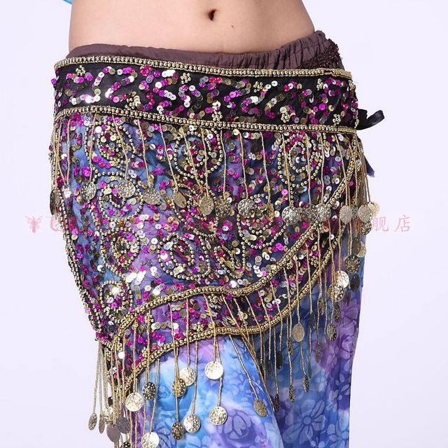 56ffaa5b0 Wholesale Belly dance clothing 150 coin color sequins mesh fabric waist  chain dance skirt hip scarf