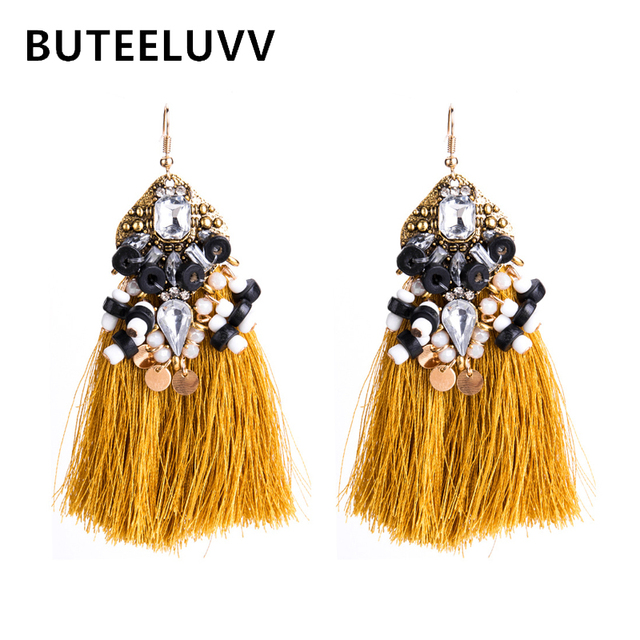Buteeluvv Vintage Yellow Tel Earrings For Women Bohemian Handmade Bead Geometric Crystal Statement Indian Jewelry
