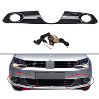 2x Front Fog Light Lamps Cover Grille Grill For VW JETTA 6 2011 2014 White DRL
