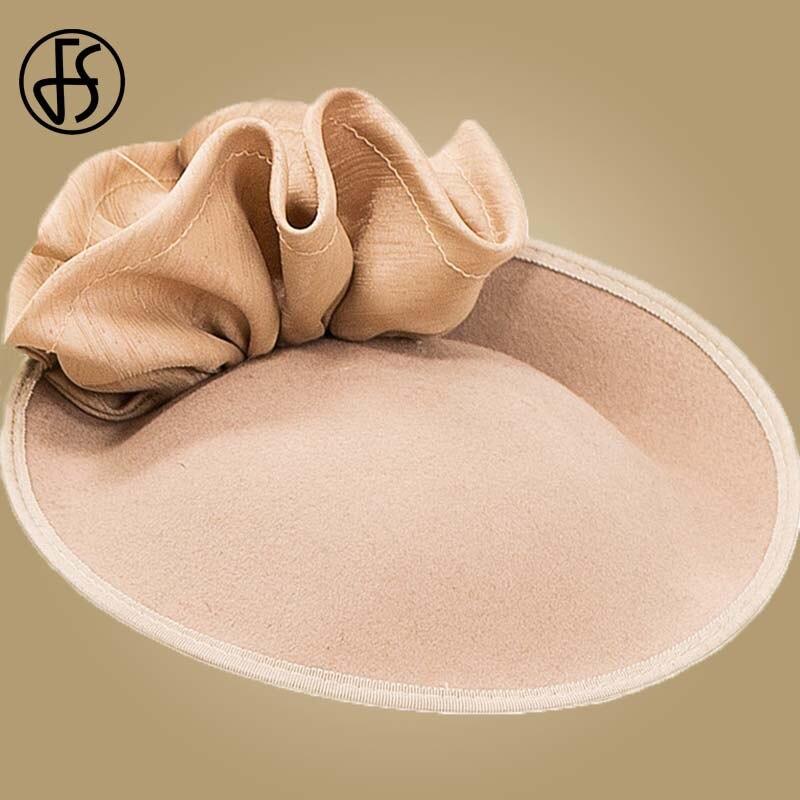 Image 3 - FS British Hats For Women 100% Wool Pillbox Hat Khaki Felt Fedora Vintage Flower Wedding Fascinator Ladies Derby Church Hat-in Women's Fedoras from Apparel Accessories