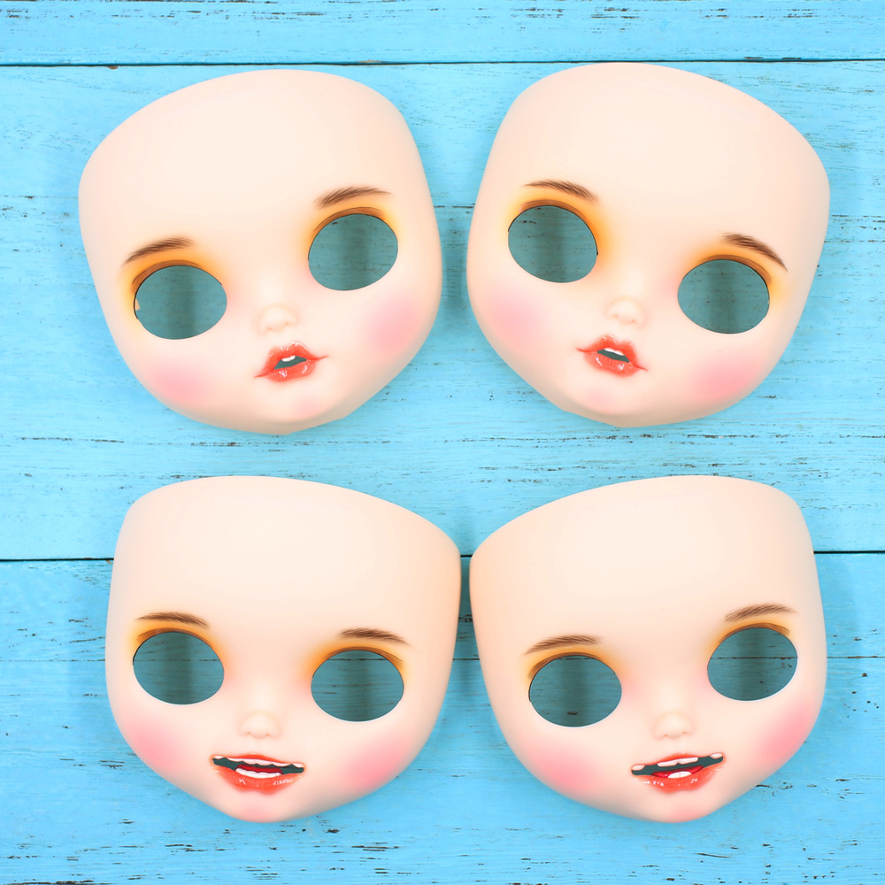 ICY blyth doll Accessories toothed matte faceplate White skin hand painted face with lip brows backplate