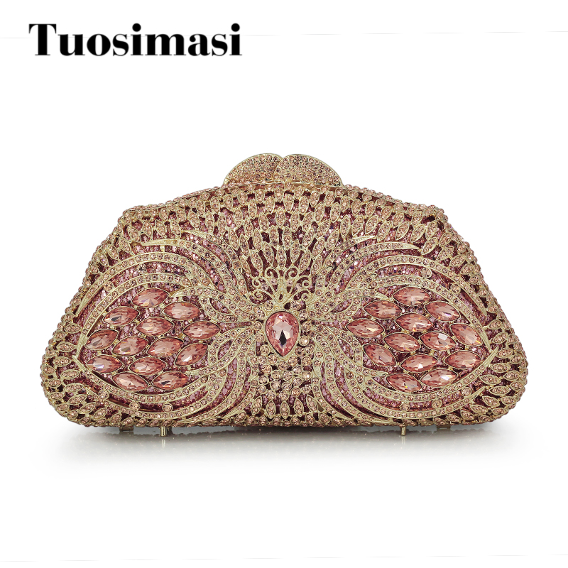 Pink rhinestone clutch bag Luxury crystal clutch evening bag diamond banquet bag wedding pochette party purse(88213-PP) 7 color oval gold ab silver pink luxury crystal evening bag party clutch purse women wedding handcraft banquet bag customized
