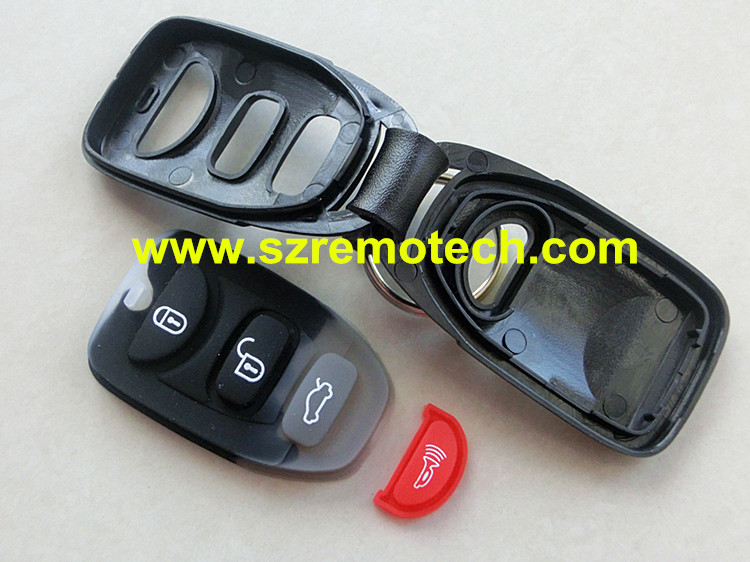 5pcs/lot Free Shipping New 3+1 Panic Remote Key Shell Case Fob Covers 4 Button Fit For Hyundai Elantra Sonata Santa 2006-2012