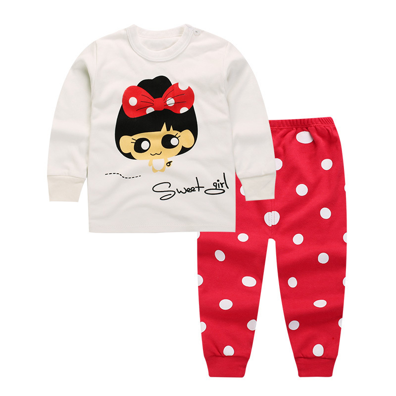[Unini-yun]kids clothes girl baby Dot long sleeve cotton casual suits baby clothing retail children suits Children clothing ...