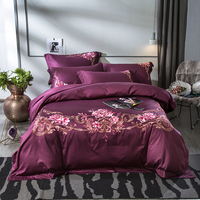 IvaRose Oriental Embroidery Luxury Bedding Sets Duvet Cover Pillowcase Bed Sheet Linen Queen King Size Bed set Purple Blue color