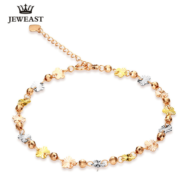 2017 New 18K Pure Gold Bracelet Au750 Gold Lucky Bead Bangle Multicolor Fashion Classic Length Adjustable Woman Girl Hot Selling