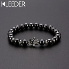KLEEDER New Magnetic Stone Fatima Hand Bracelets for Women Fashion Jewelry Evil Eye Weight Loss Hematite Stretch Beaded Bracelet