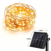 Copper Wire 10m 100 LEDs Solar Lamps Fairy String Patio Lights Waterproof Garden Christmas Wedding Party
