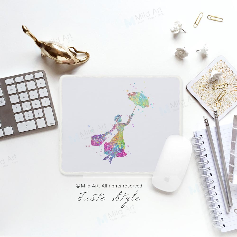 Watercolor Mary Poppins Figure Fantasy Pop Movie Prints Colorful Creative Girl Gift PC Desk Laptop Gaming Computer Mouse Pad Mat