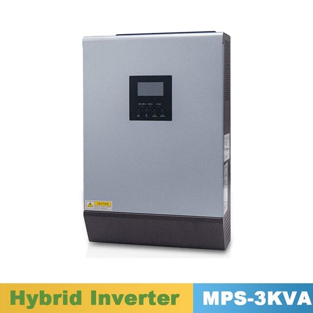 Инвертор немодулированного синусоидального сигнала 2400 ва Вт, гибридный Инвертор 24 В постоянного тока, вход в переменного тока, выход с контроллером солнечного зарядного устройства MPPT 25 А