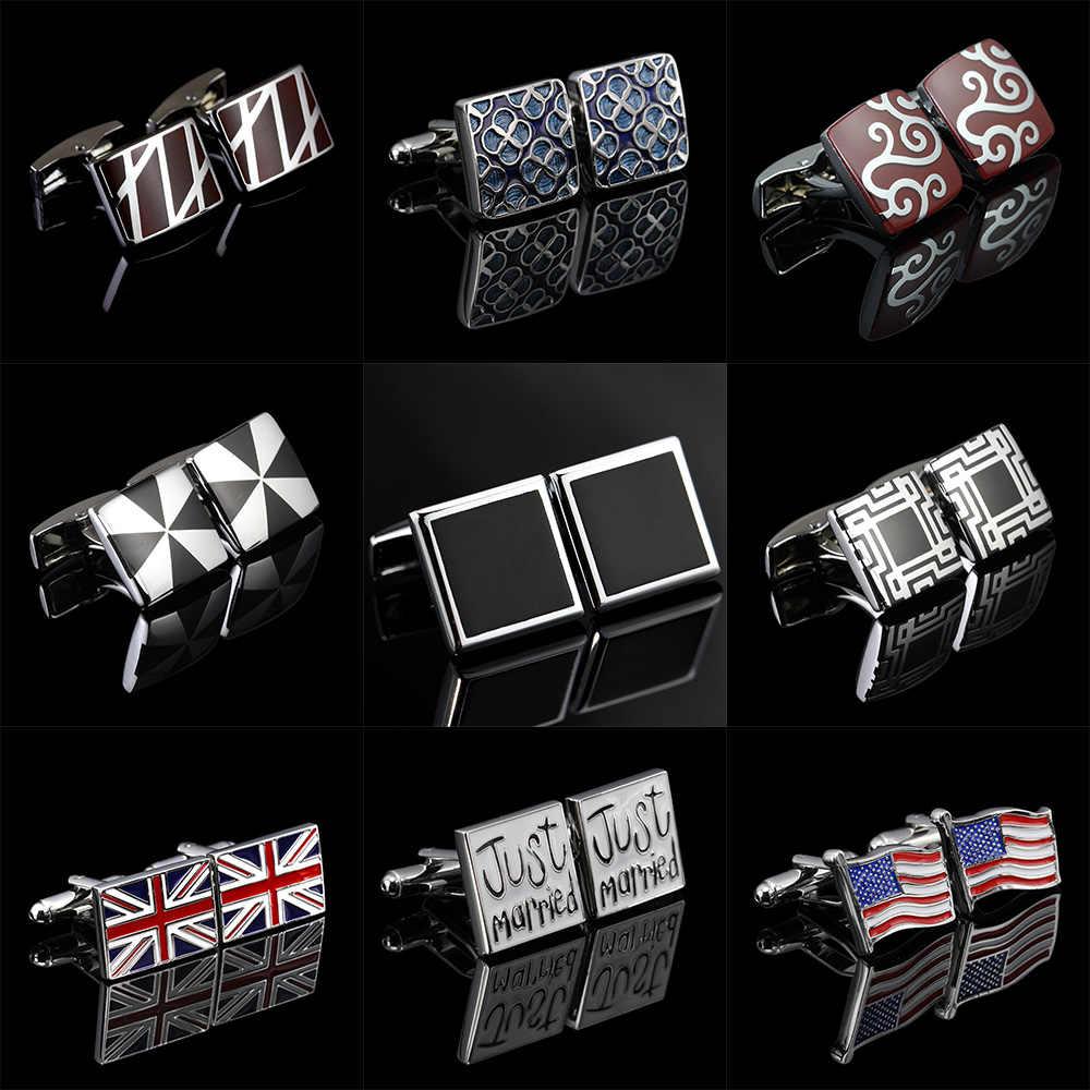 Memolissa klasik kol düğmeleri noel baba/çalar saat/bayrak/Vintage desen tasarım kol düğmeleri Bouton De Manchette hediyeler erkekler için
