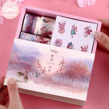 Mr Paper 16+8pcs Gift Package Sticker Washi Tape Set Kawaii Ocean Star Forest Sakura Dessert Stickers Scrapbooking Masking Tapes