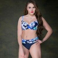 Women Plus Size Bikini Swimsuit Sexy Flower Printed Mid Waist Underwire Swimwear Large Size Famale Beach