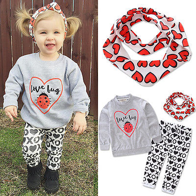 2016 New Autumn Winter Baby Girl Clothes Long Sleeve Hooded Sweatshirt Top XO Pant Trouser 3PCS Outfit Toddler Kids Clothing Set baby boys clothes toddler kid long sleeve dinosaur hooded sweatshirt top long pant sportswear outfit 2pcs kids clothing sets
