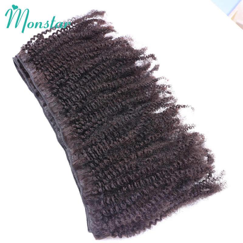 Monstar brazylijski Afro perwersyjne kręcone Coily splot wiązek Remy ludzki włos wyplata włosy 1/3/4 naturalne czarny włosy brazylijskie naturalne nieprzetworzone splot wiązek