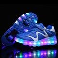 Crianças sapatilhas com rodas crianças moda led light up sapatos Brilhantes sapatos de rolo para meninas meninos esportes skate sapatos casuais