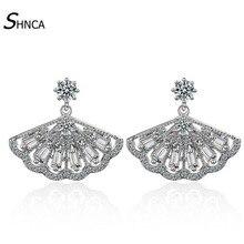High Quality Luxury Sector Shape 925 Sterling Silver AAA Crystal Zircon Rhinestone Stud Earrings For Women Earring Jewelry E190