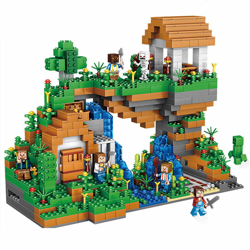 957pcs Minecraft Waterfall My World DIY Model Building Blocks Kit Kids Education Toys Christmas Birthday Gifts