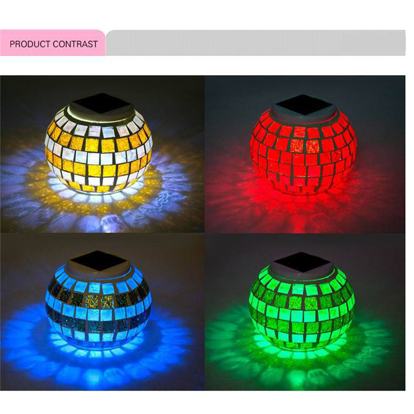 Solar Powered Led Mosaic Glass Ball Garden Light Colorful Changing Yard Balcony Table Lamp Waterproof Indoor Outdoor Party Decor