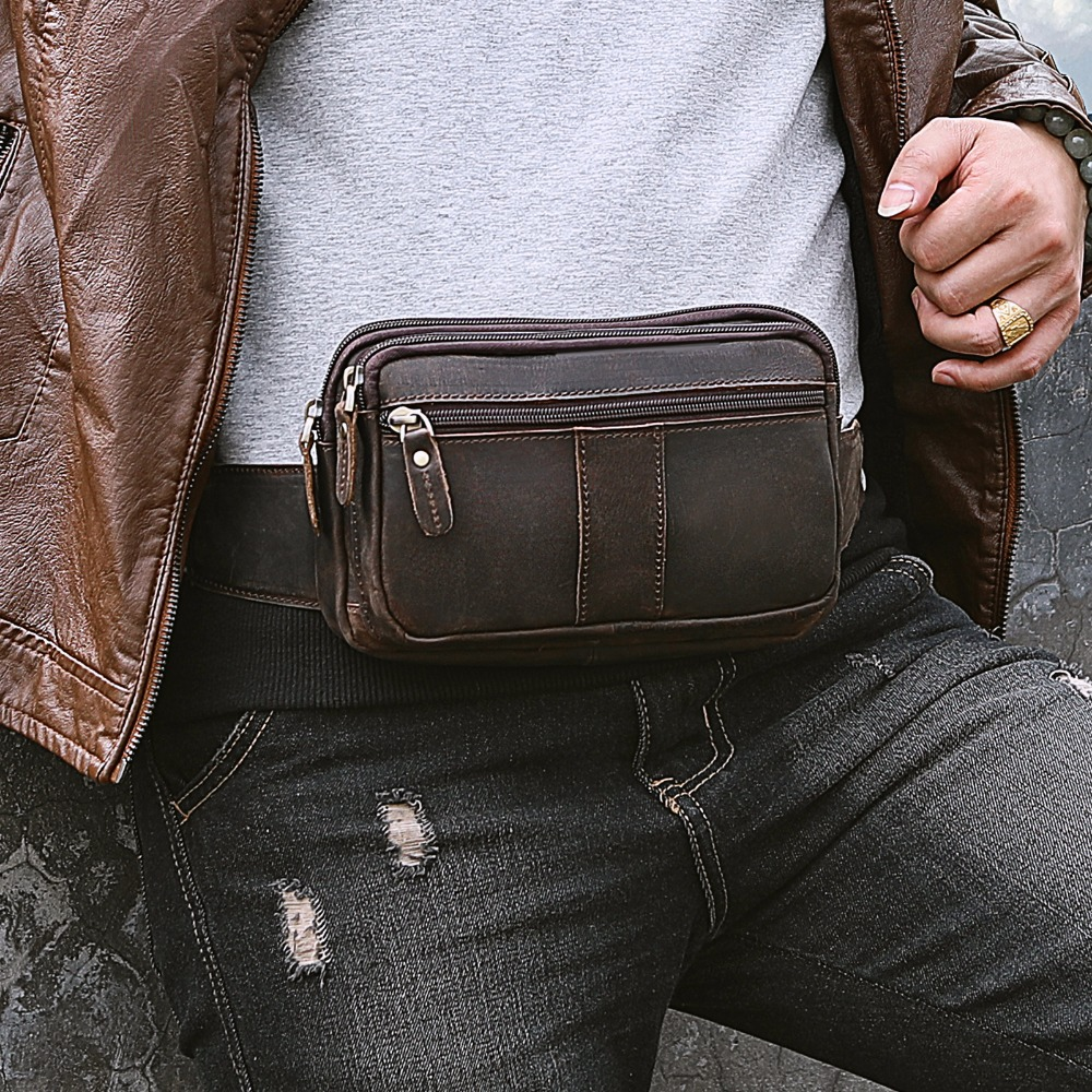 Quality Leather Men Casual Fashion Travel Crossbody Waist Belt Sling Bag Cowhide Design 7