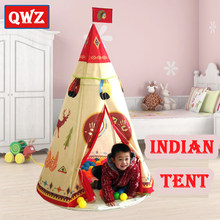 QWZ Natural Indian Pattern Children Toy Tent Teepees Safety Tipi Portable Indoor Game Tents Outdoor Playhouse for Kids Gifts(China)