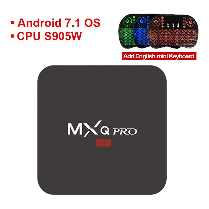 S905W MXQ PRO Android 7.1 TV Box Amlogic Quad Core 64Bit Ram 1GB ROM 8GB 4K MXQ PRO WiFi Smart Media Playe PK X96MINI