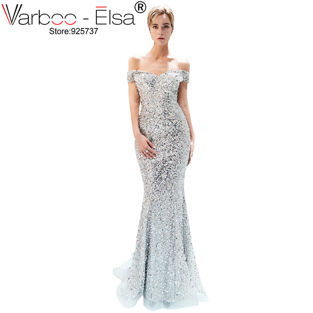820984a4b2 VARBOO ELSA sliver Sequin Crystal Sexy Long Evening Dress 2018 Off Shoulder  african Prom Gown Mermaid Party Dresses Vestidos