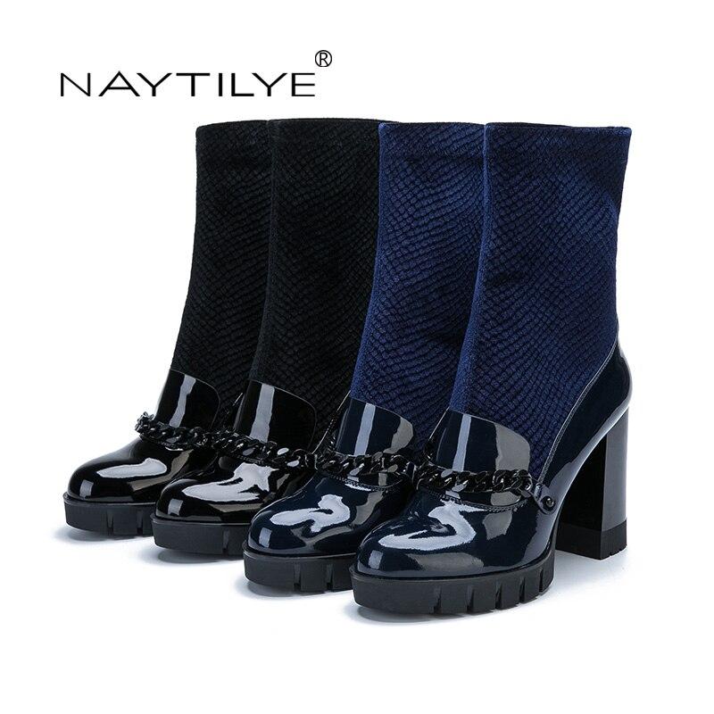 bd3dec6a07 NAYTILYE Novo 2017 Pu sapatos de couro mulher botas patente Eco sapatos de salto  alto Slip on com cadeia primavera outono azul preto 35 40 tamanho em Botas  ...