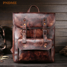 PNDME vintage soft genuine leather mens backpack simple outdoor travel cowhide daily 13inches laptop sling rucksack schoolbag