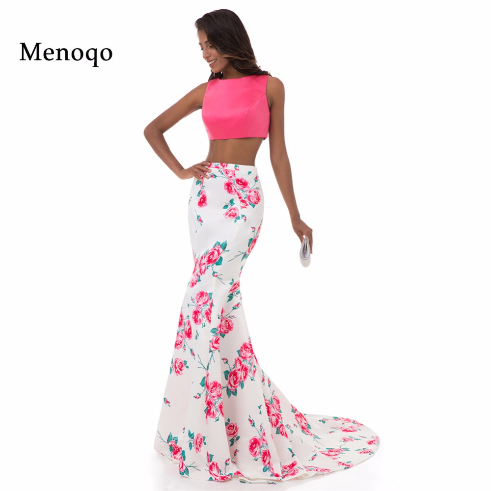 Menoqo Sexy Long Two Piece   Prom     Dresses   Print Flowers Pattern Real Formal Party Gala   Dress   Sleeveless Floral Evening Gowns
