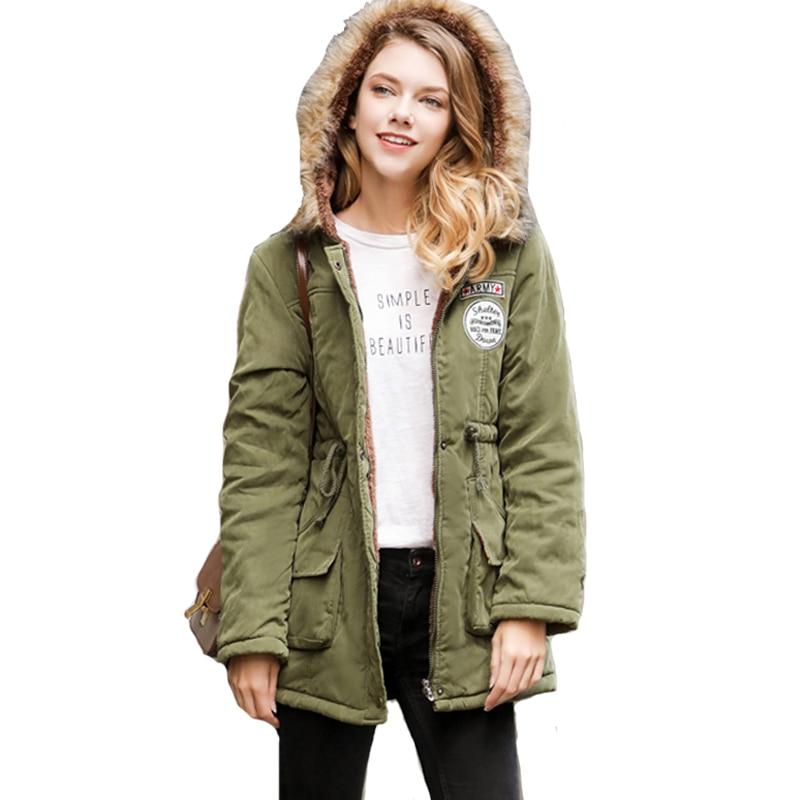 Nice Women Winter Fur Warm Jacket Female Outerwear Plus Size 2XL Coat Ladies Hooded Long Parka Cotton Padded Jaqueta Feminina