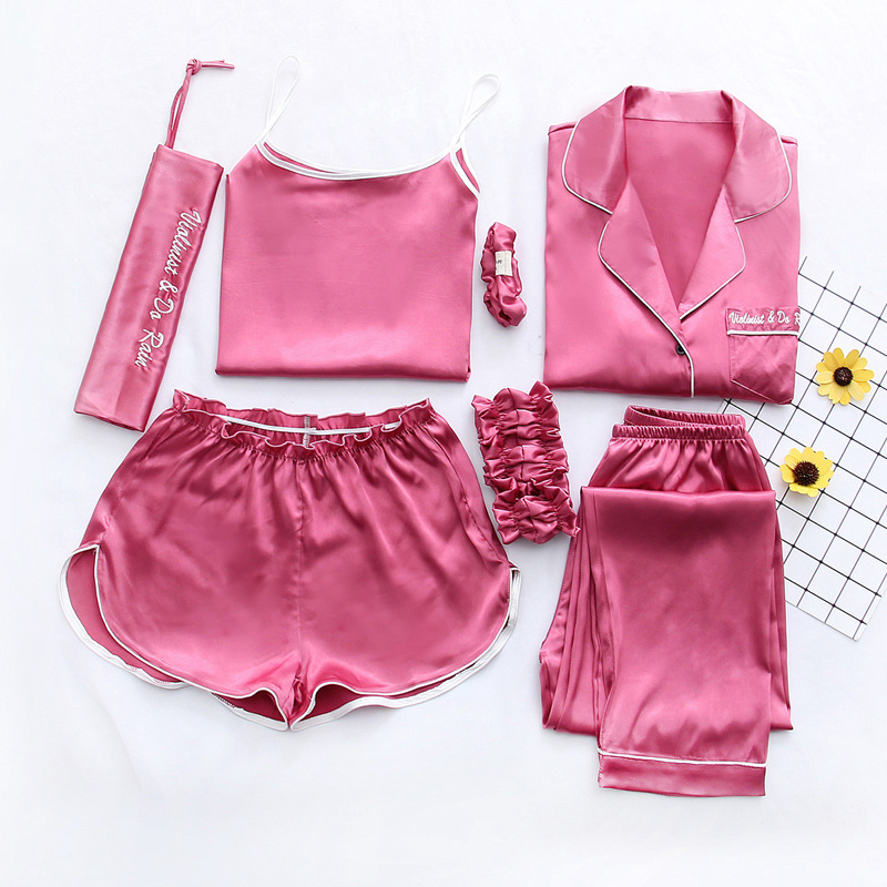 QWEEK 7 Pieces Sets Pajamas Set Women Mulberry Sleepwear Casual Sexy Women Silk Pajama Sets Pink Pyjama Nightwear Sling Pijama