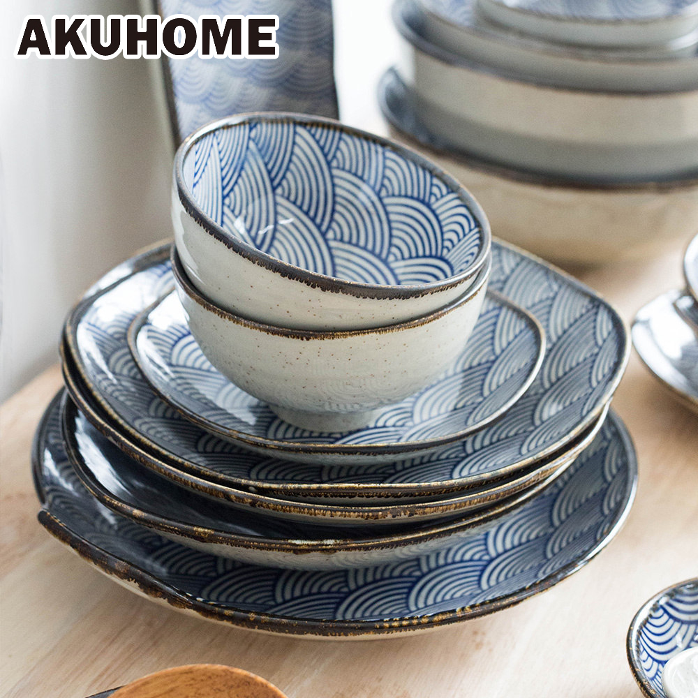 underglaze color japanese wave pattern ceracmic dinnerware. Black Bedroom Furniture Sets. Home Design Ideas