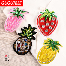 GUGUTREE embroidery beaded pineapple strawberry patches fruits badges applique for clothing SK-5