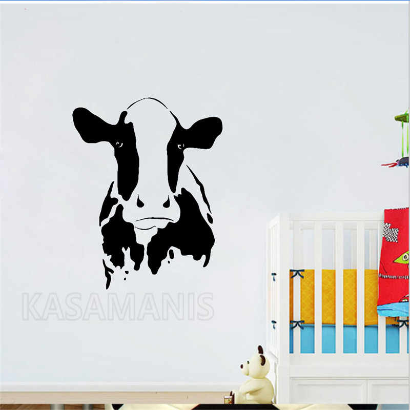 detail feedback questions about cute cow head wall art mural decals
