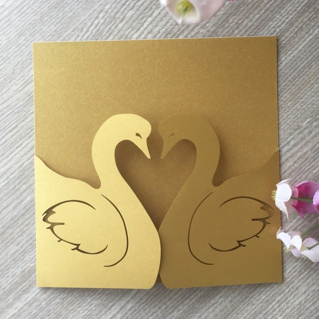 30pcs Lot Laser Cut Paper Craft Gold Color Pretty Swan Wedding Invitation Greeting Congratulation