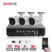 KRSHDCAM 4CH CCTV System 1080P AHD 1080N CCTV DVR 3PCS 3000TVL IR Waterproof Outdoor Security Camera Home Video Surveillance kit