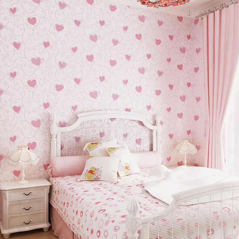 Sweet Cartoon 3d Embossed Heart Pattern Wallpaper Kids Rooms Pink Girl Bedroom Decor Wallpapers Self Adhesive Wall Paper EZ050