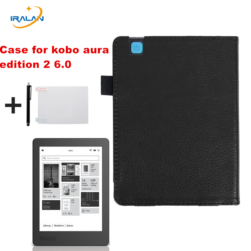 Hot Litchi pattern folio PU leather protective cover for Kobo Aura Edition 2 6.0 inch 2016 E-Reader ebook Case+screen film+pen newest hard shell leather cover case for kobo aura h2o 6 8 inch ebook wake up and sleep screen protector stylus pen