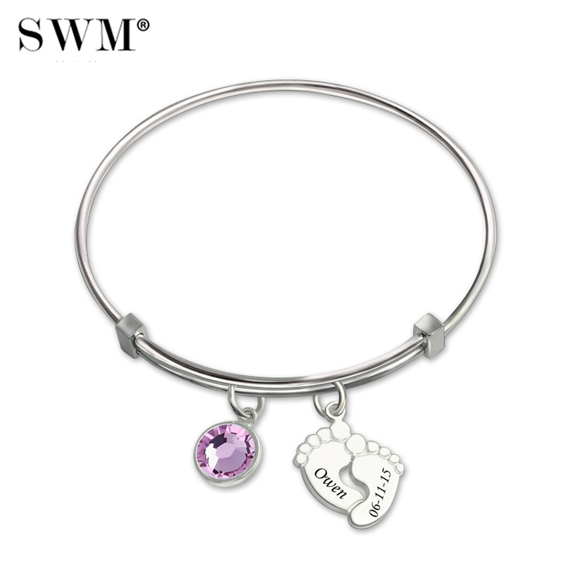 Bracelets for Women Silver 925 Jewelry Personnalisable Name Letter Bracelet Costume Baby Feet Bangles with Engraving Bangle Mom stylish rhinestone engraving mom heart bracelet for women