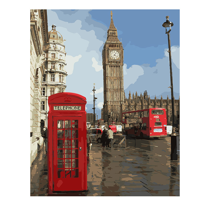 WEEN London City Slikarstvo Po brojevima Moderna Big Ben Digitalni zid platnu Art štand Bojenje po broju Za Home Wall Artwork Poklon