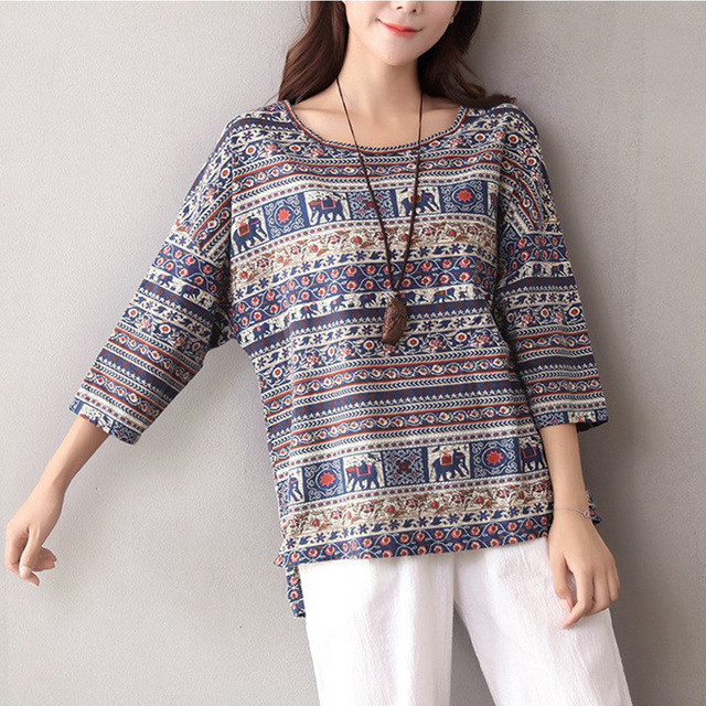 96e6ef0d127 Indie Folk Style Women Linen Tops Loose Summer Boho Printed 3 4 Sleeve  Blouse Casual Vintage Shirt Baggy Blusas Tunic Plus Size
