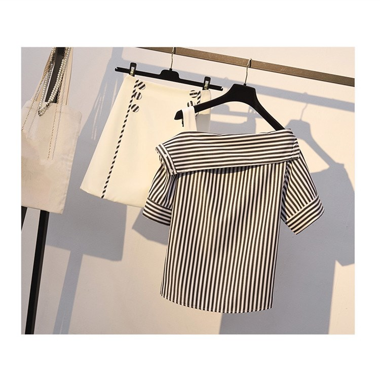 Women Sexy Striped Two Piece Set Short 2019 Summer Off Shoulder Shirts Double Breasted High Waist Mini Skirts Casual Suit