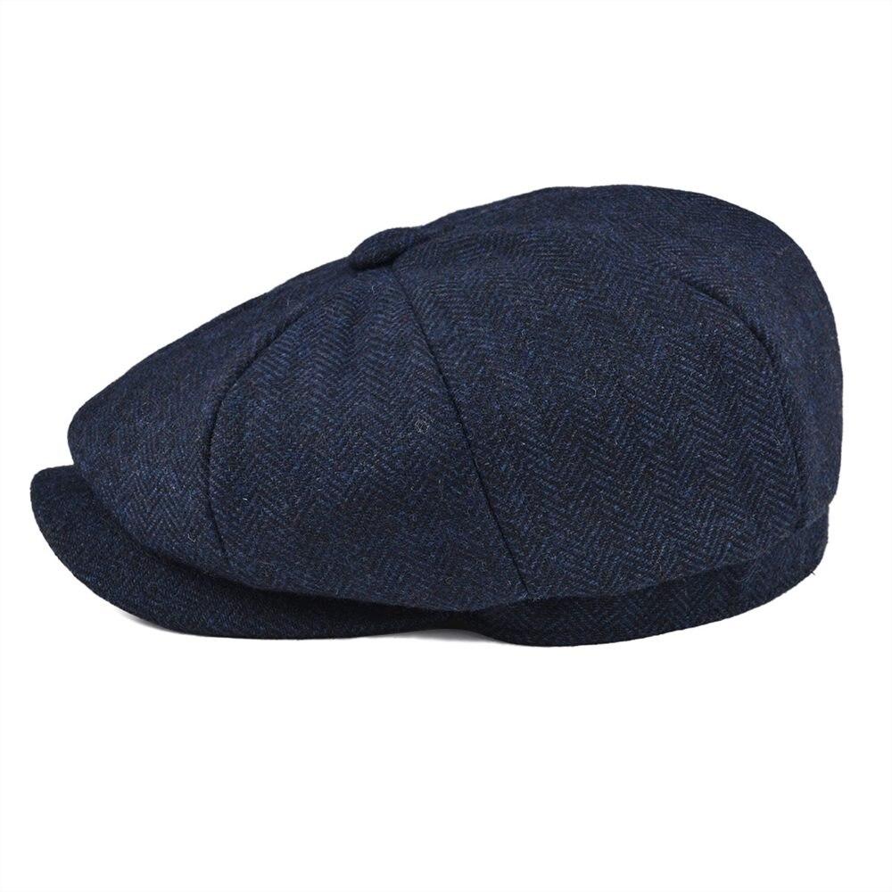 BOTVELA Wool Tweed Newsboy Cap Herringbone Men Women Gatsby Retro Hat Driver Flat Cap Black Brown Green Navy Blue 005 2
