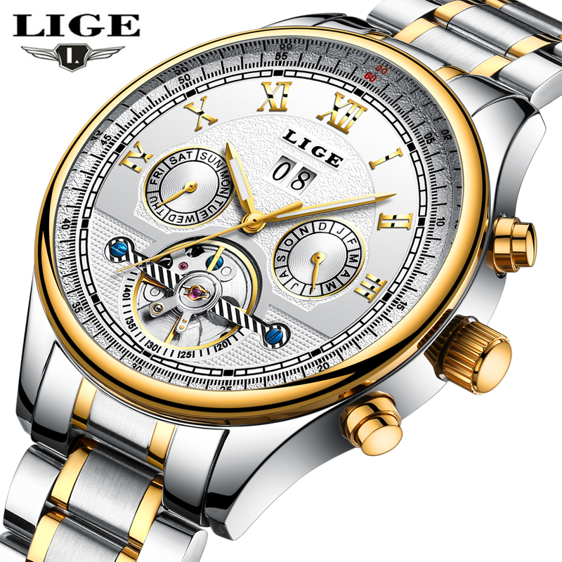 New LIGE Men Luxury Brand Automatic mechanical casual fashion watches Reloj Hombre men waterproof water man relogio masculino lepin city jungle cargo helicopter building blocks sets bricks classic model kids toys marvel compatible legoe