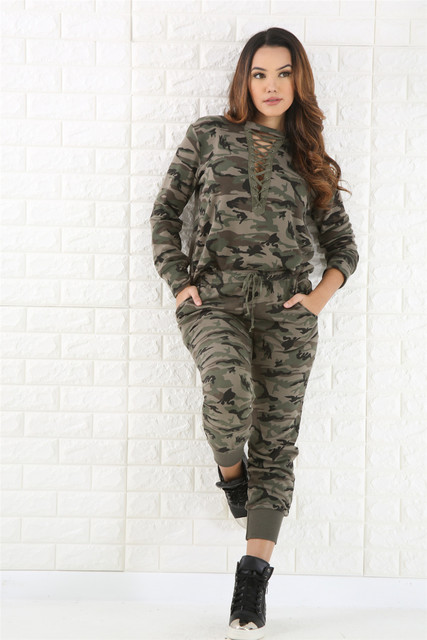 best loved 30f47 55270 Spring Women Sexy Fashion Camouflage Outfits Hollow Out Casual Two Pieces  Bodycon Outfits Army Green Wholesale