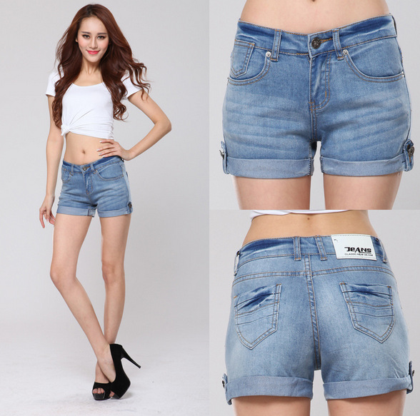2015 New Summer Sexy Women Jeans Shorts Slim Blue Denim Shorts ...