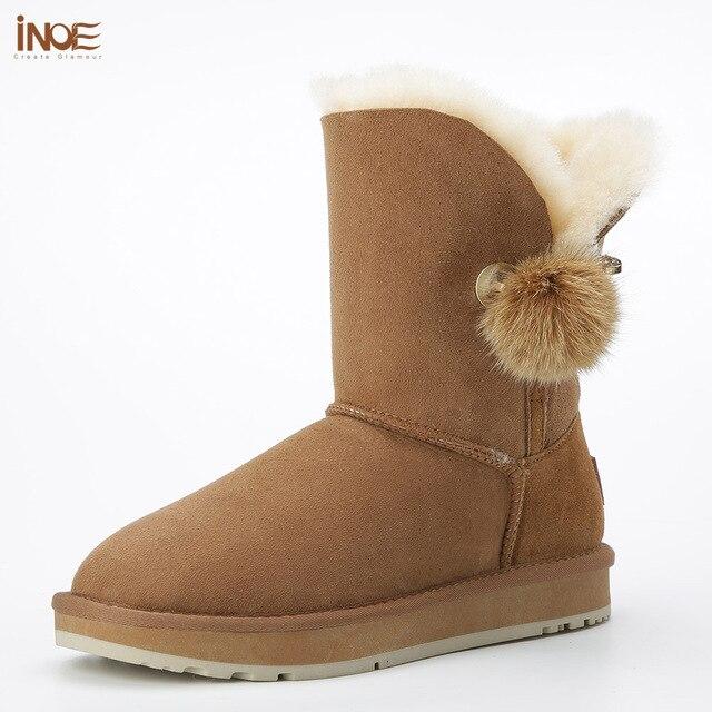 Inoe/новые туфли в индивидуальном стиле со стразами и меховым помпоном брошь с натуральным кроличьим мехом мяч из овечьей кожи на меховой подкладке зимние ботинки серый