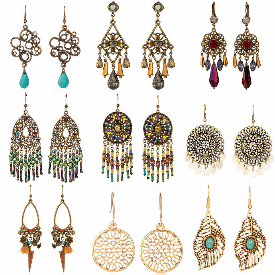 2019 Gold Round Drop Earrings Big Circle Colorful Acrylic Tassel Earrings For Women Fashion Long Wood Fringe Earings Jewelry